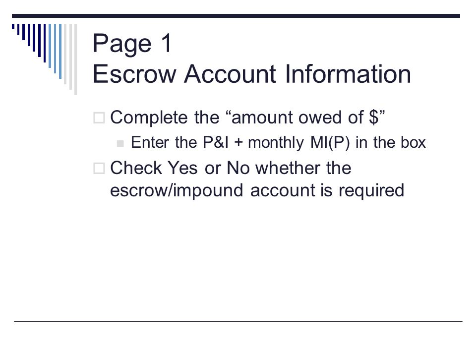 Page 1 Escrow Account Information
