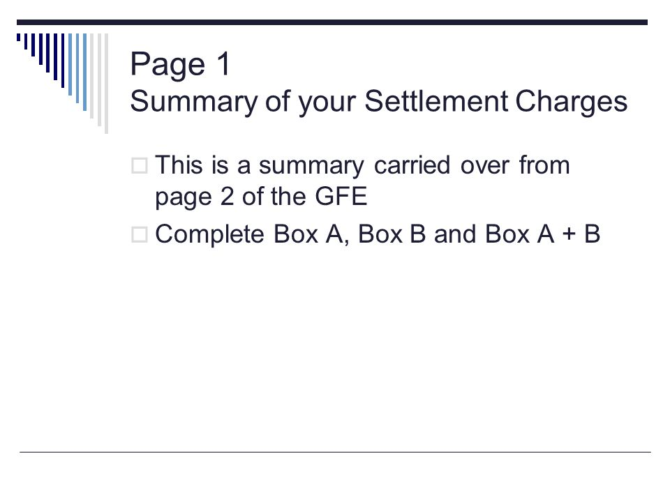 Page 1 Summary of your Settlement Charges