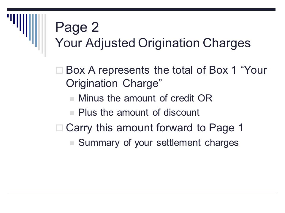Page 2 Your Adjusted Origination Charges
