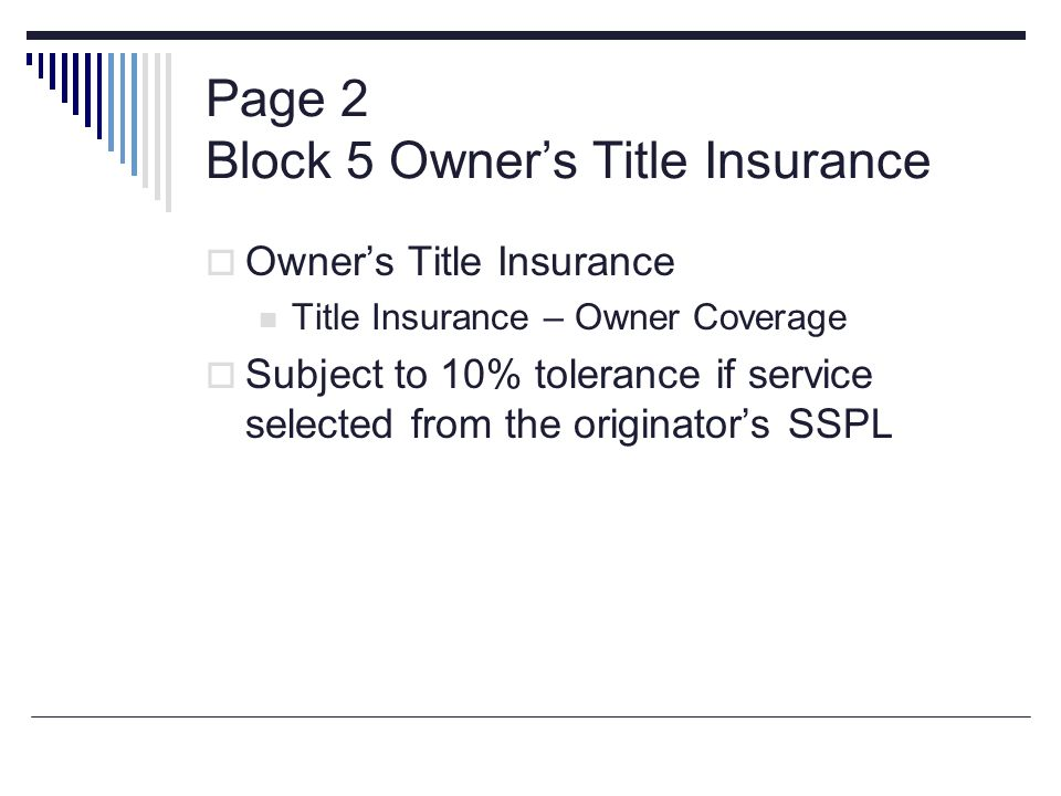 Page 2 Block 5 Owner's Title Insurance