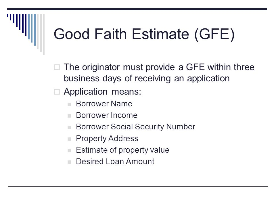 Completing the Good Faith Estimate - ppt download