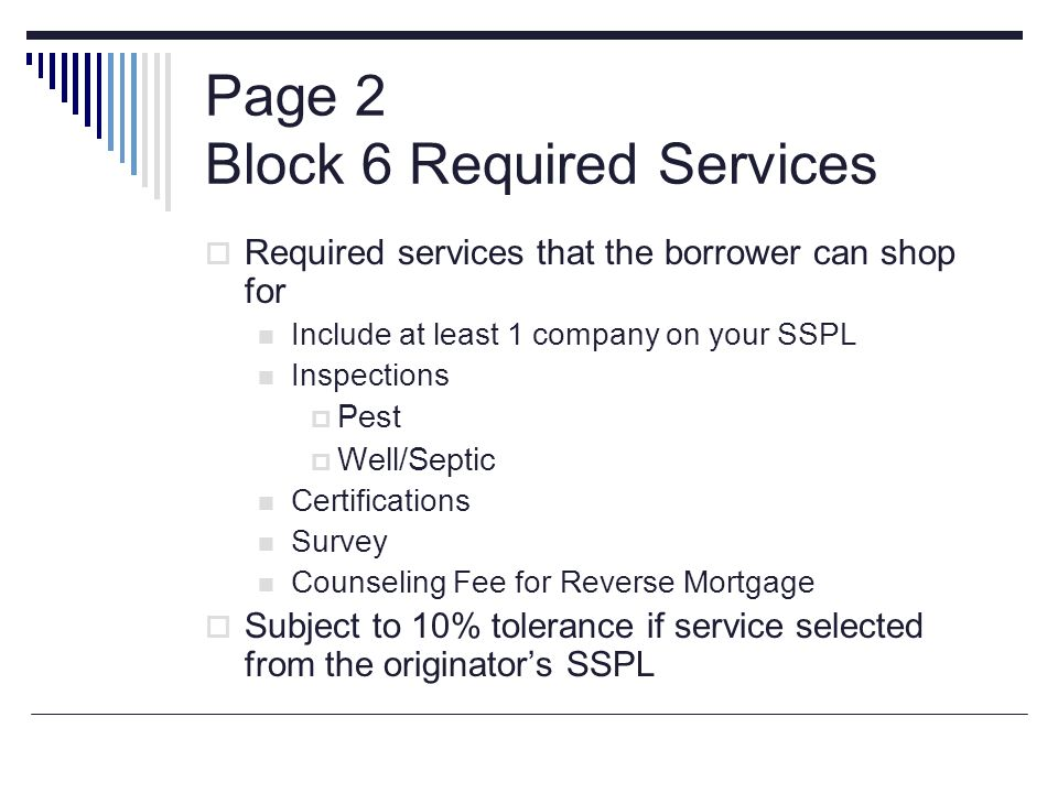 Page 2 Block 6 Required Services