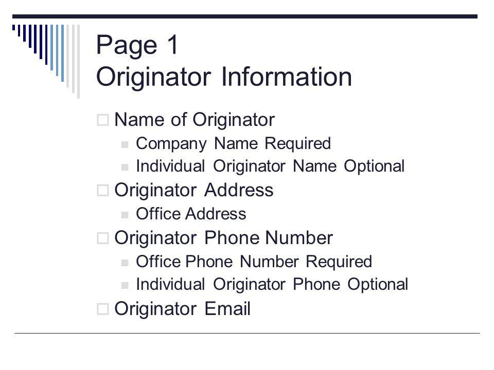 Page 1 Originator Information