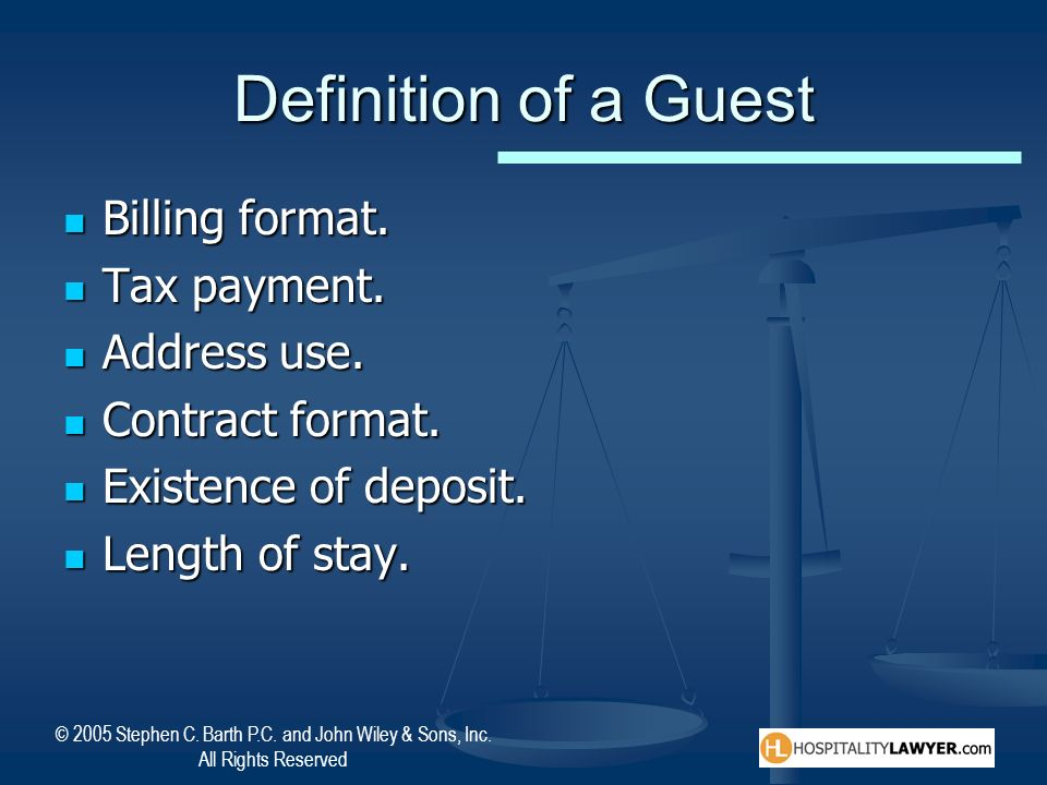 Definition of a Guest Billing format. Tax payment. Address use.