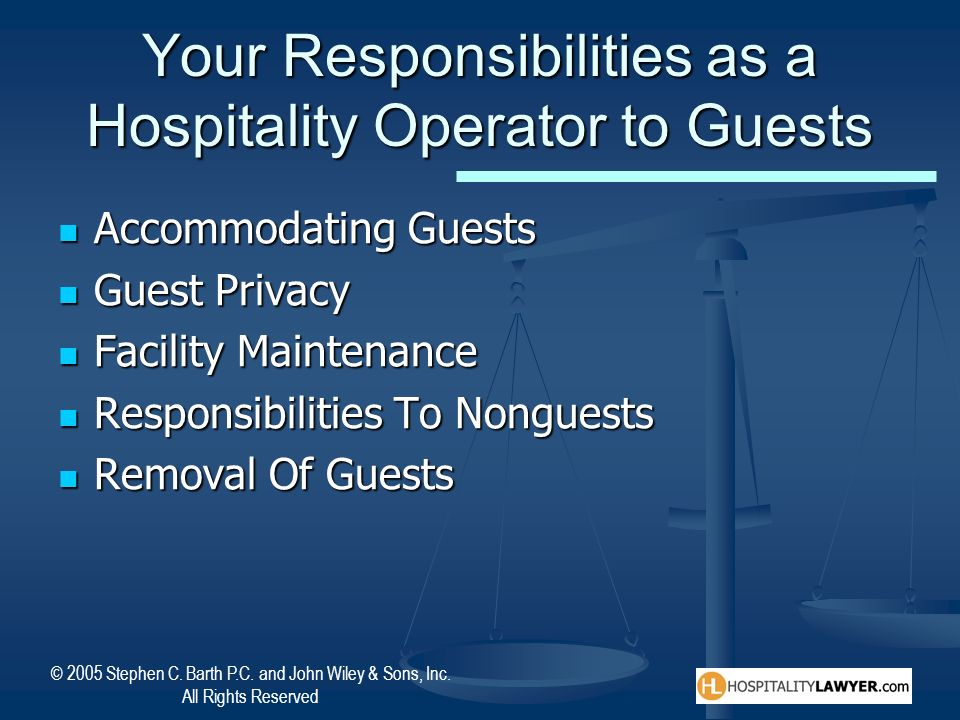 Your Responsibilities as a Hospitality Operator to Guests