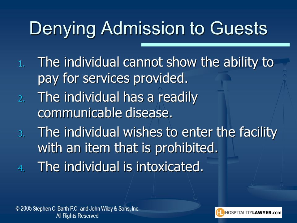 Denying Admission to Guests