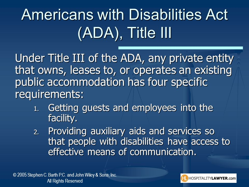 Americans with Disabilities Act (ADA), Title III
