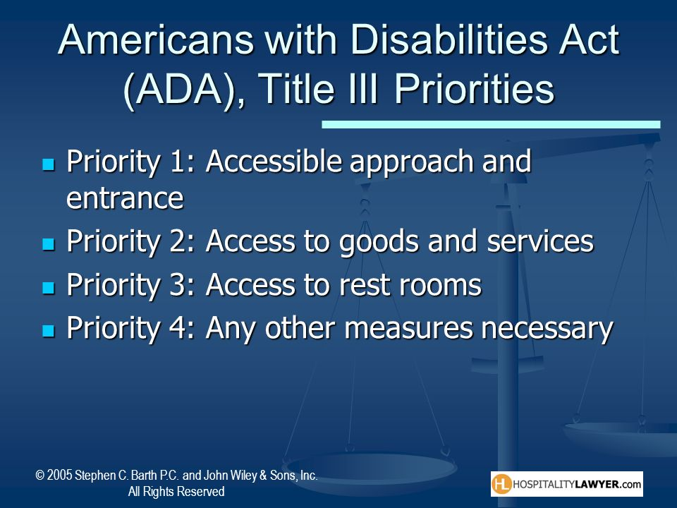 Americans with Disabilities Act (ADA), Title III Priorities
