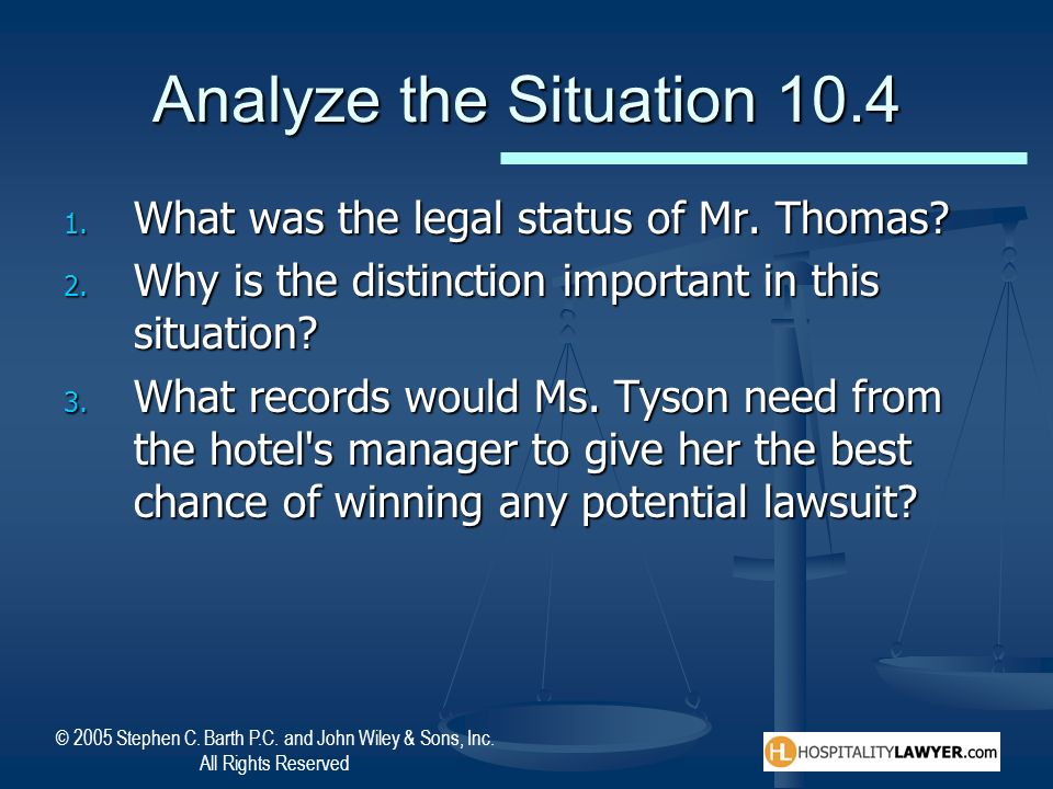 Analyze the Situation 10.4 What was the legal status of Mr. Thomas