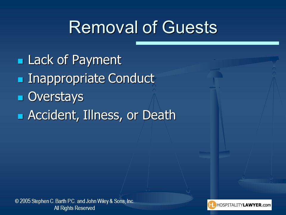 Removal of Guests Lack of Payment Inappropriate Conduct Overstays
