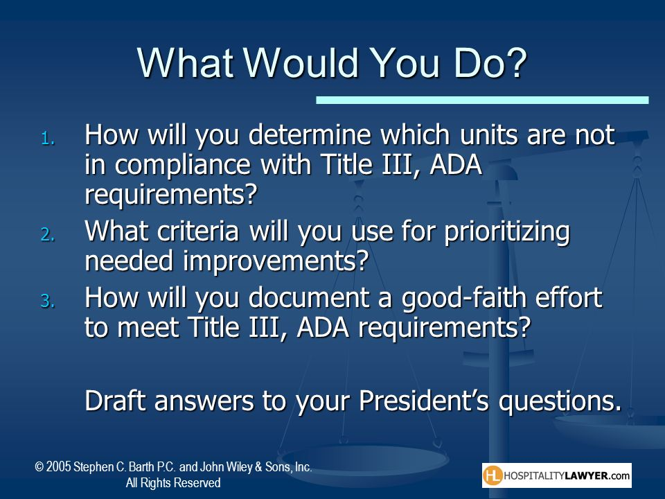 What Would You Do How will you determine which units are not in compliance with Title III, ADA requirements