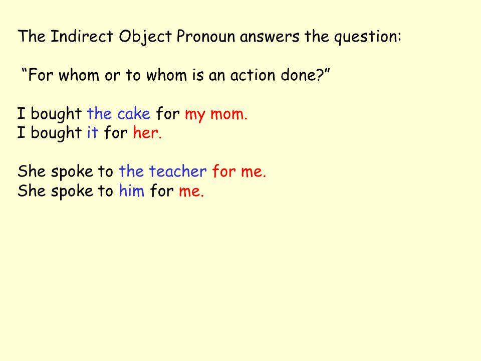 The Indirect Object Pronoun answers the question: For whom or to whom is an action done