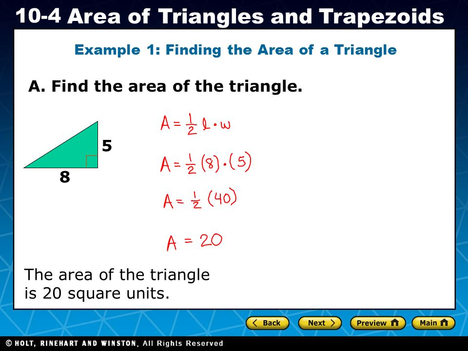 Example 1: Finding the Area of a Triangle