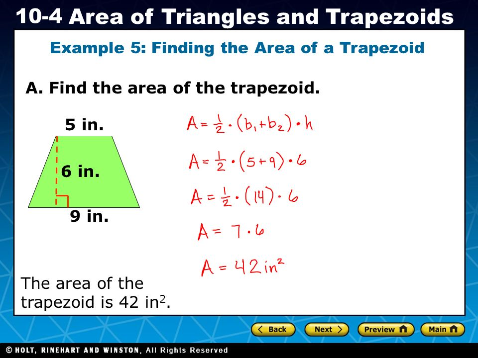 Example 5: Finding the Area of a Trapezoid