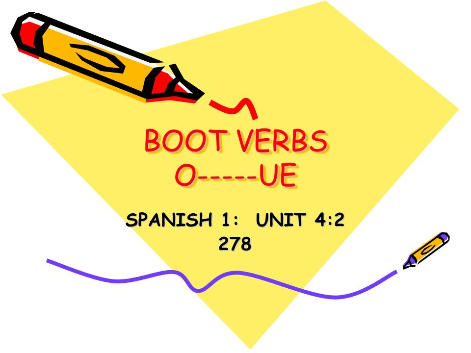 BOOT VERBS O-----UE SPANISH 1: UNIT 4:2 278