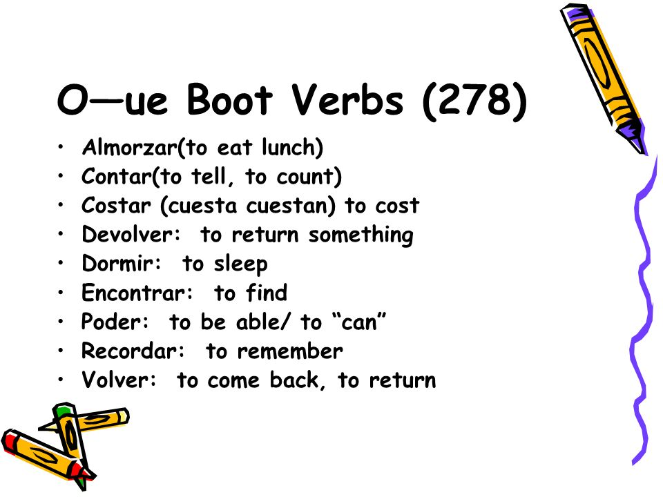O—ue Boot Verbs (278) Almorzar(to eat lunch) Contar(to tell, to count)