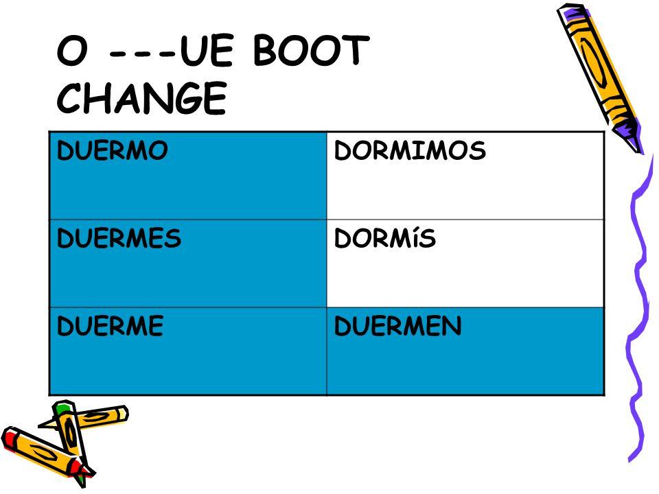 O ---UE BOOT CHANGE DUERMO DORMIMOS DUERMES DORMíS DUERME DUERMEN