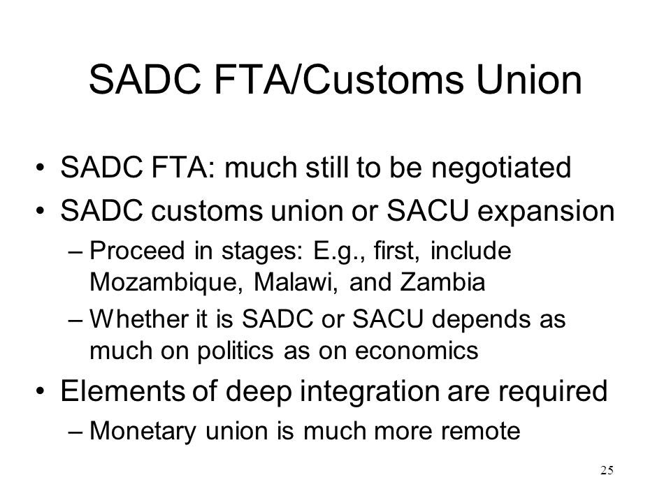 SADC FTA/Customs Union