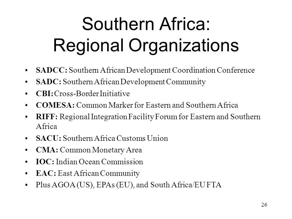 Southern Africa: Regional Organizations