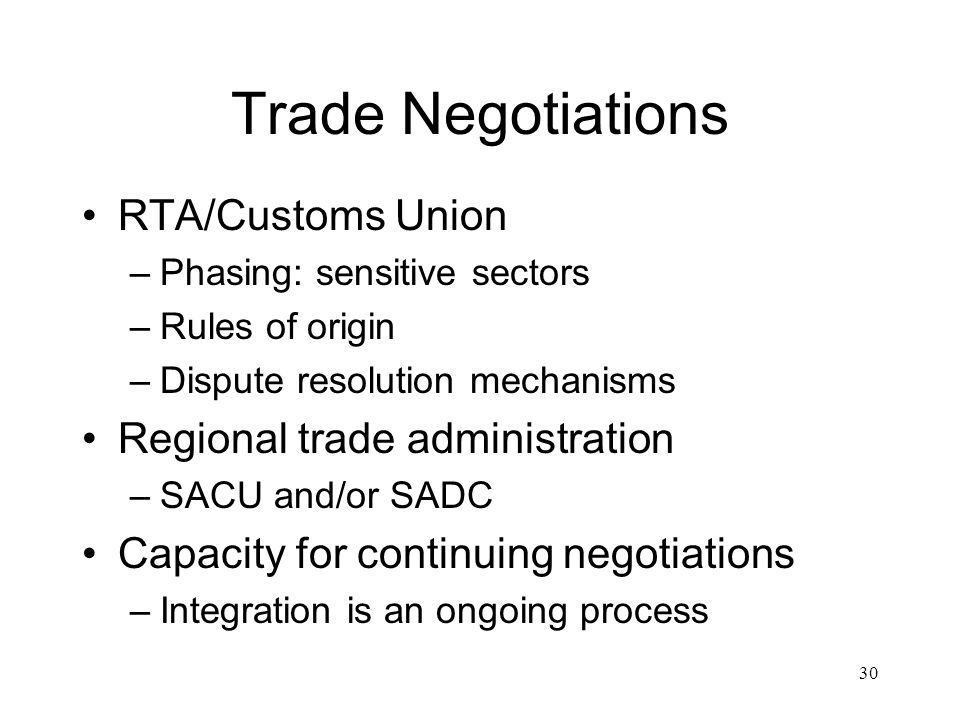 Trade Negotiations RTA/Customs Union Regional trade administration
