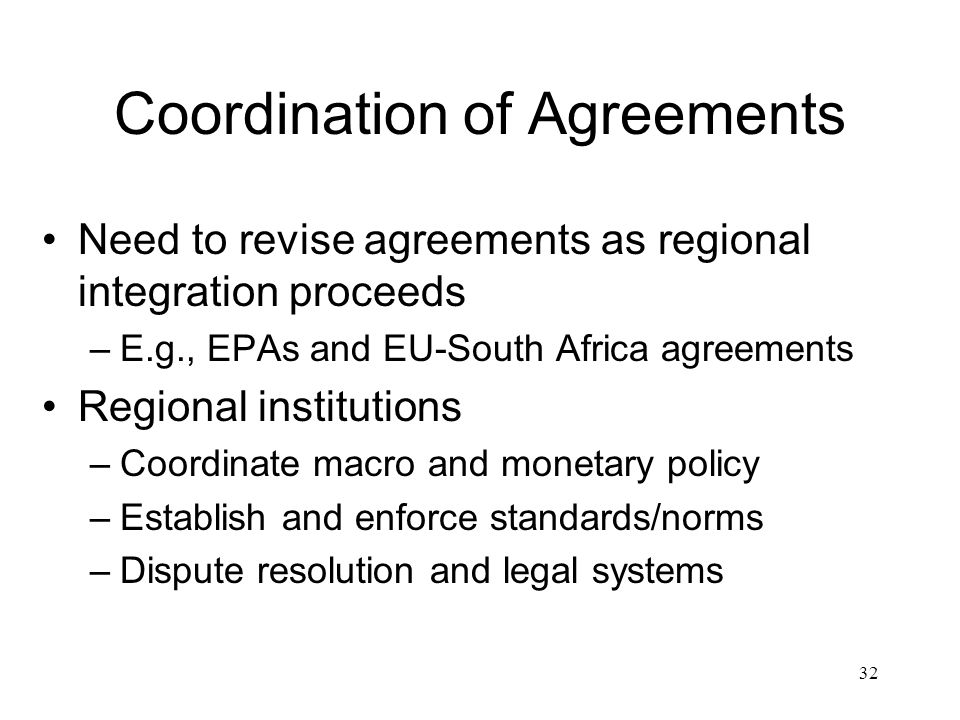 Coordination of Agreements