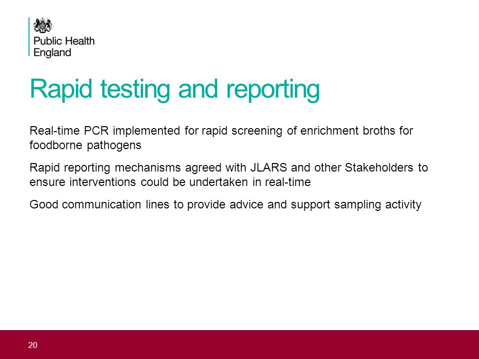 Rapid testing and reporting