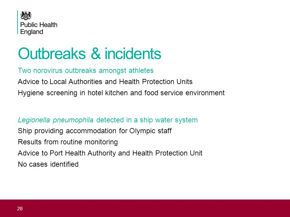 Outbreaks & incidents