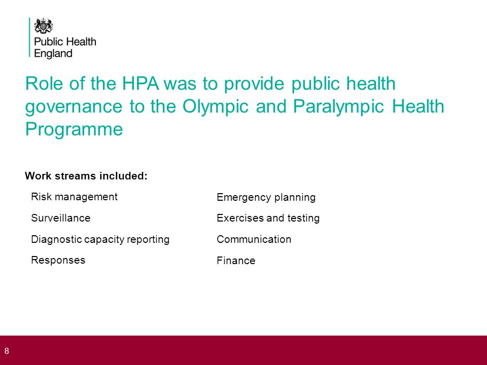 Role of the HPA was to provide public health governance to the Olympic and Paralympic Health Programme