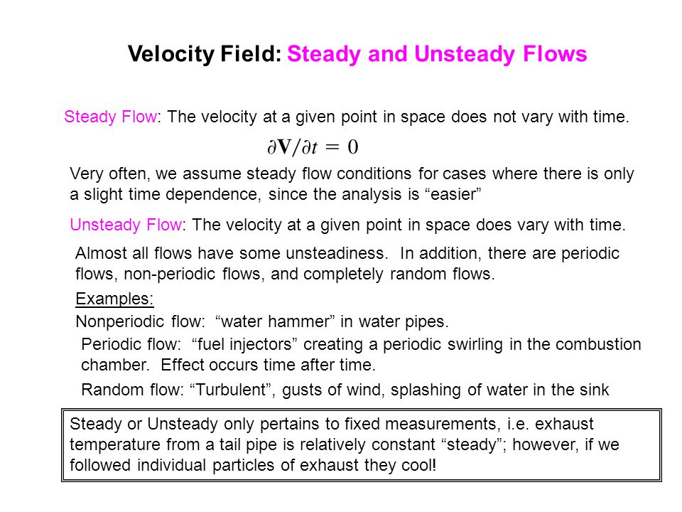 Velocity Field: Steady and Unsteady Flows