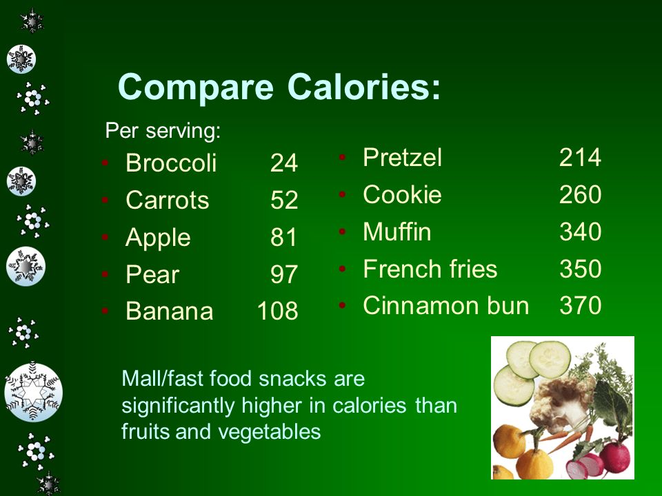 Compare Calories: Pretzel 214 Broccoli 24 Cookie 260 Carrots 52