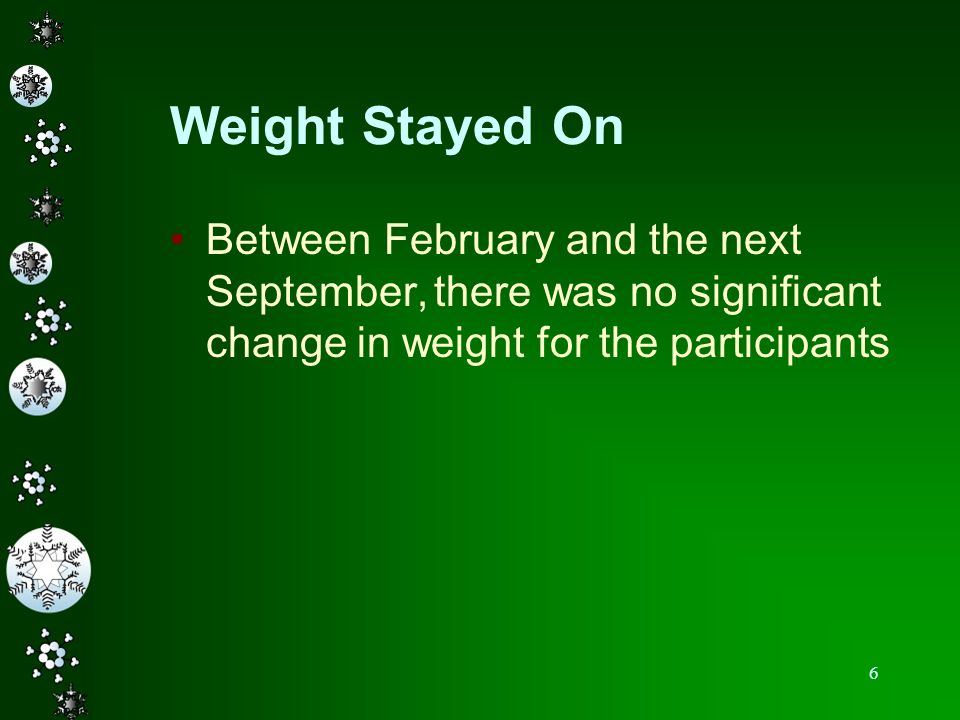 Weight Stayed OnBetween February and the next September, there was no significant change in weight for the participants.