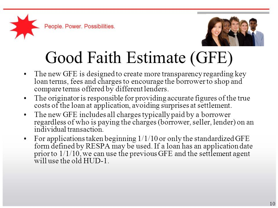 Good Faith Estimate (GFE)