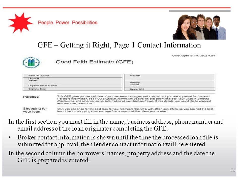 GFE – Getting it Right, Page 1 Contact Information