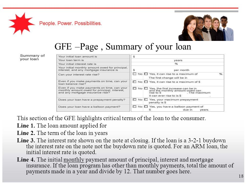 GFE –Page , Summary of your loan