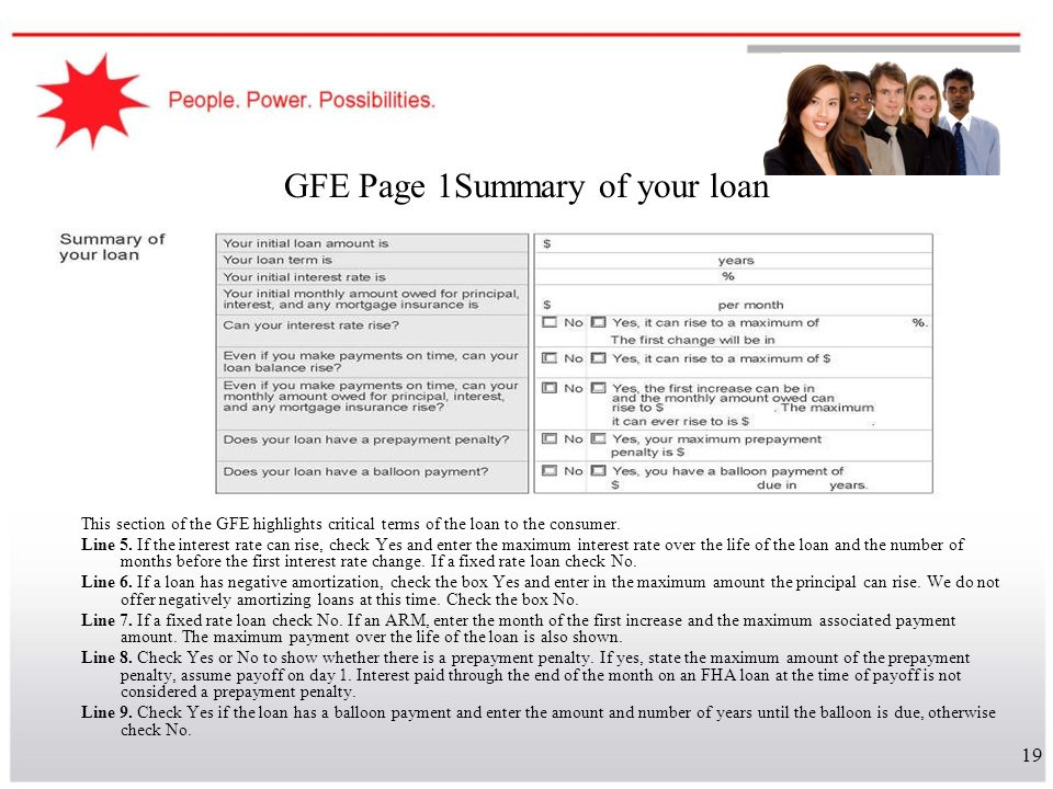 GFE Page 1Summary of your loan