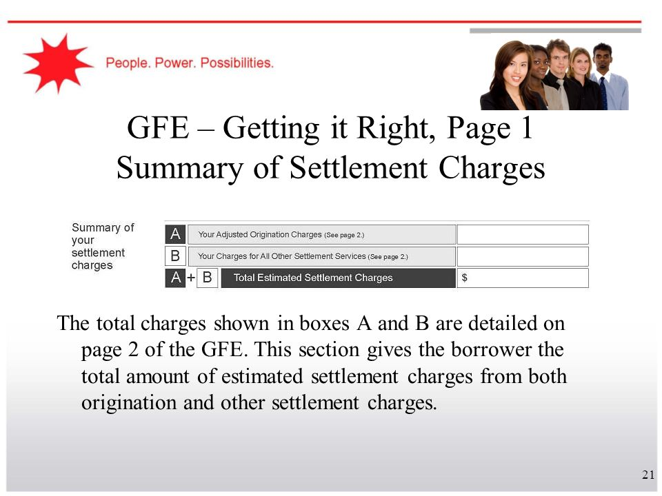 GFE – Getting it Right, Page 1 Summary of Settlement Charges