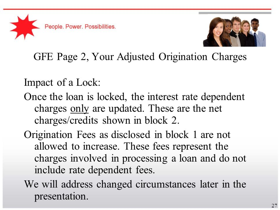 GFE Page 2, Your Adjusted Origination Charges