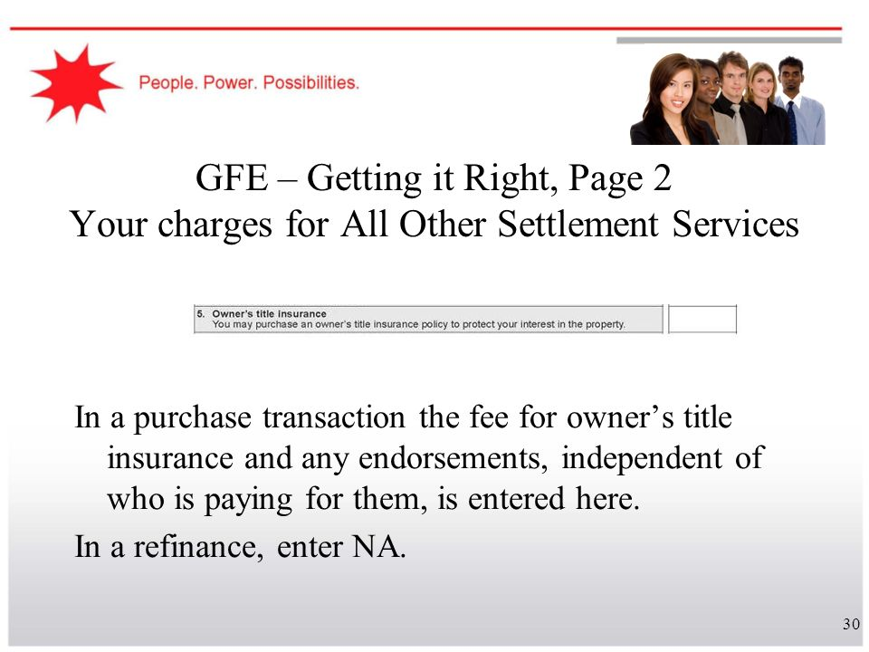 GFE – Getting it Right, Page 2 Your charges for All Other Settlement Services