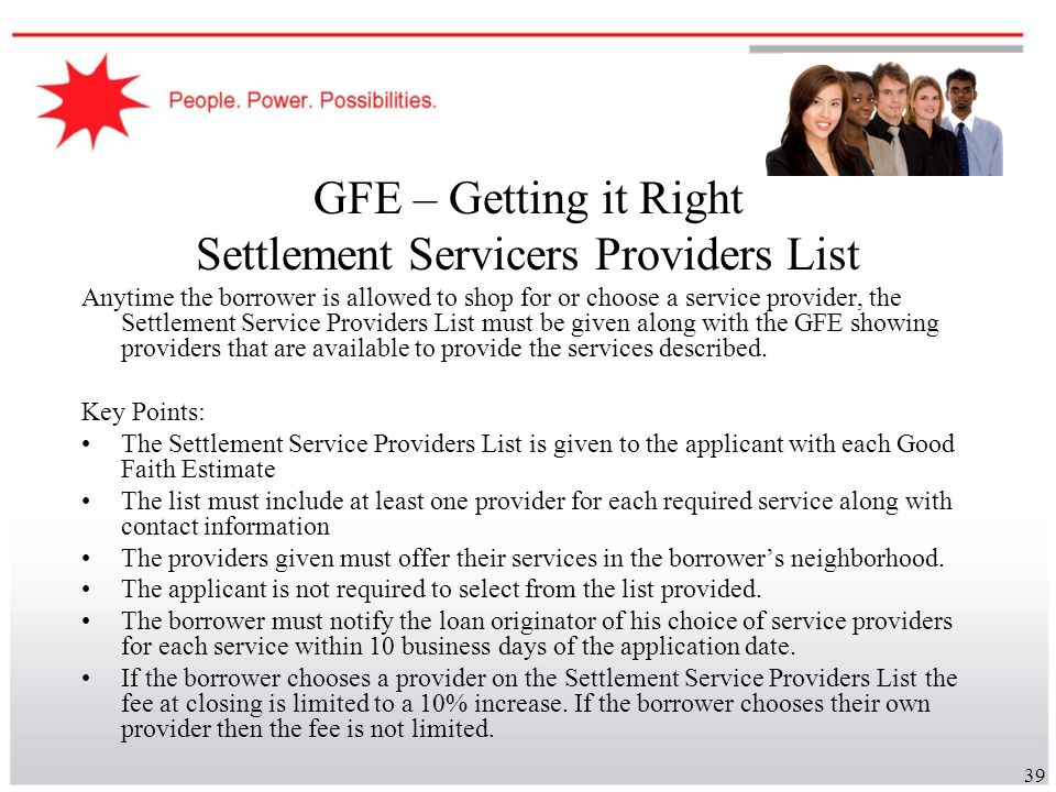 GFE – Getting it Right Settlement Servicers Providers List