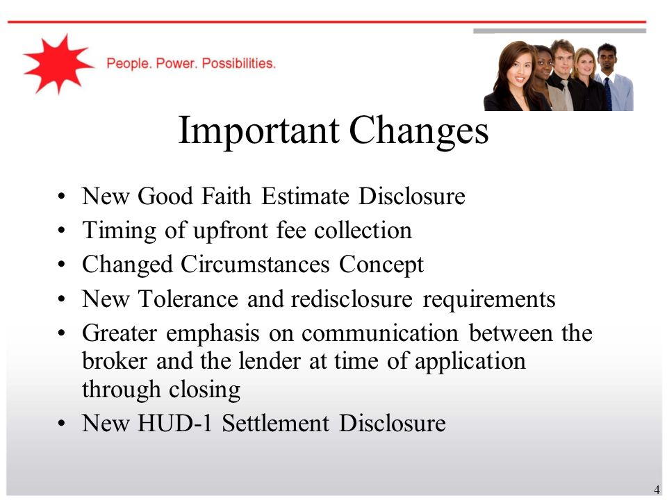 Important Changes New Good Faith Estimate Disclosure