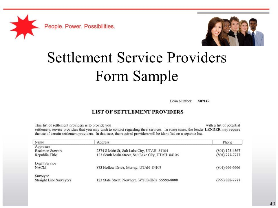 Settlement Service Providers Form Sample