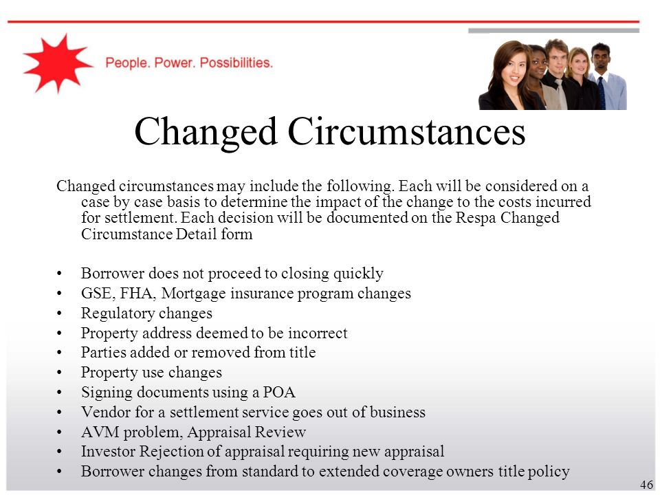 Changed Circumstances