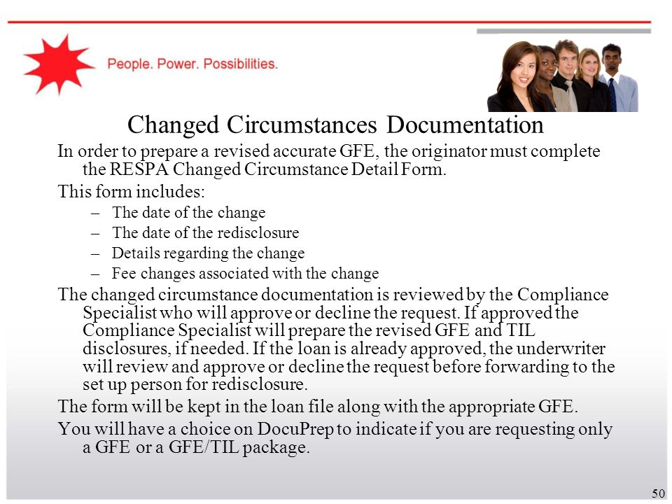 Changed Circumstances Documentation
