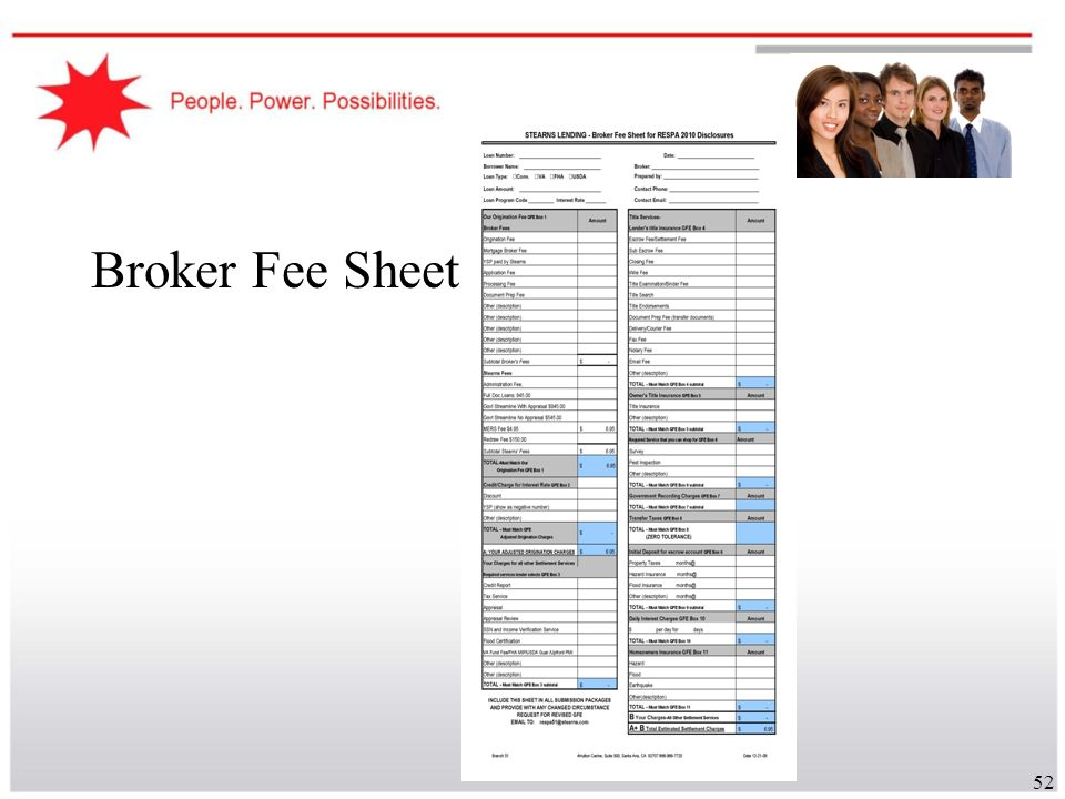 Broker Fee Sheet