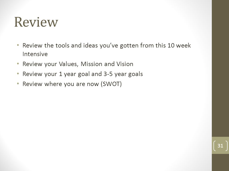 ReviewReview the tools and ideas you've gotten from this 10 week Intensive. Review your Values, Mission and Vision.