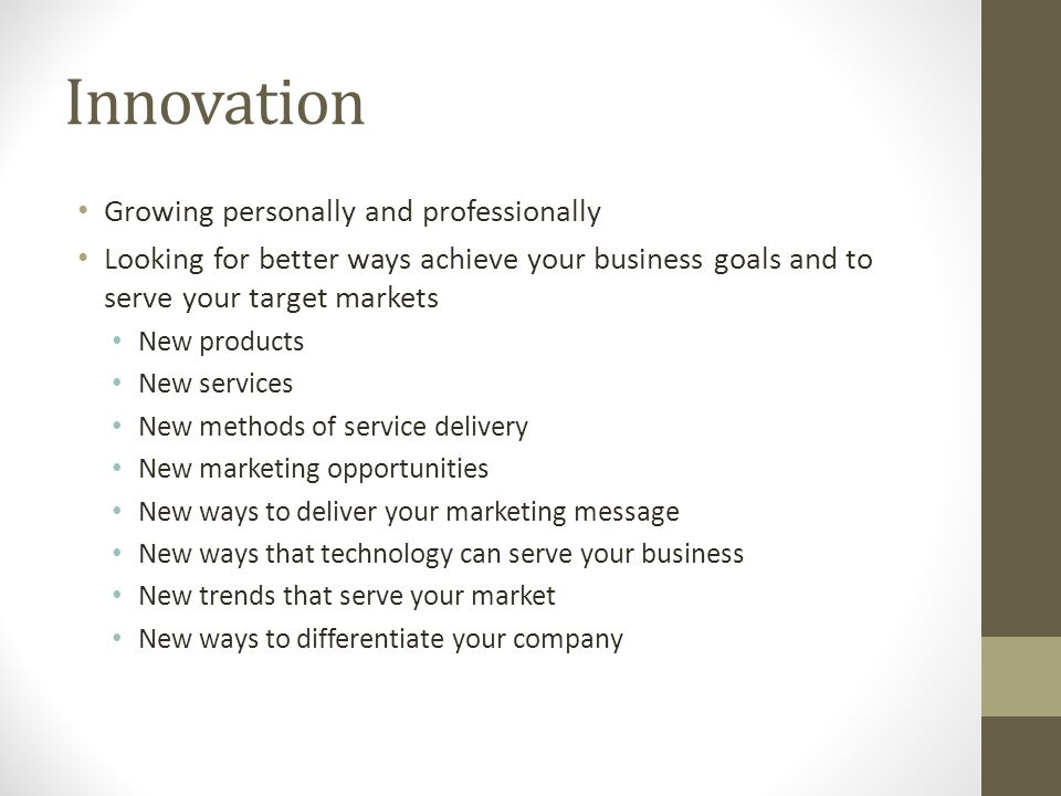 Innovation Growing personally and professionally
