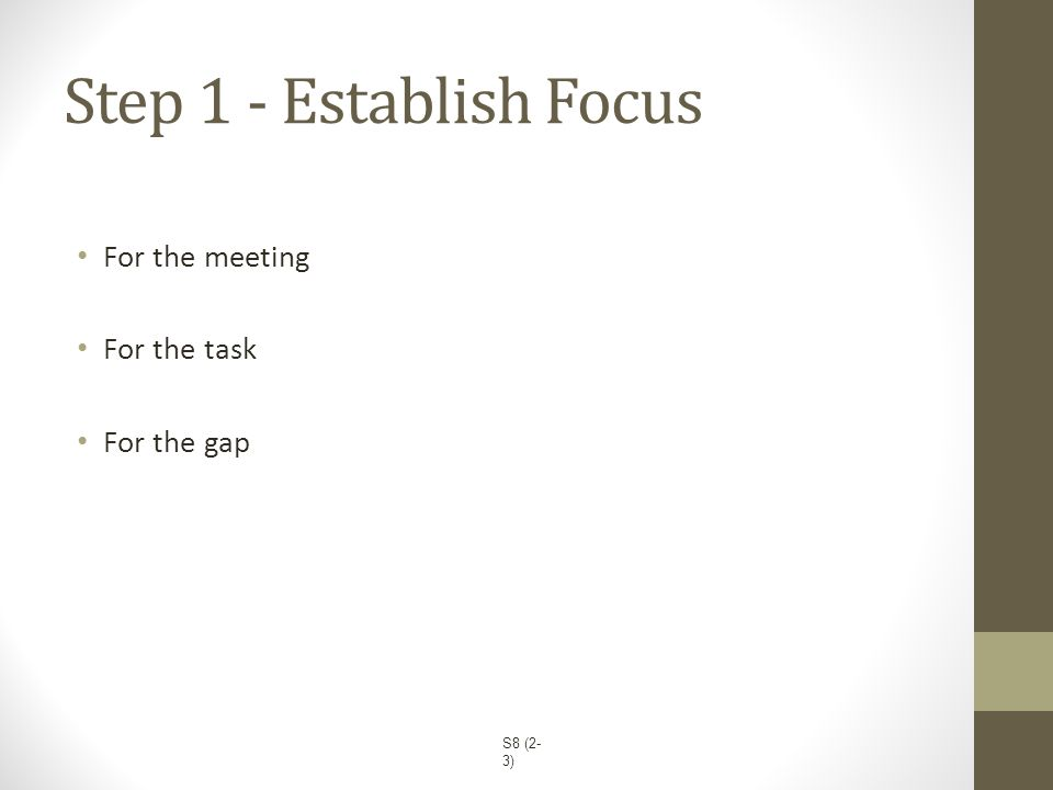 Step 1 - Establish Focus For the meeting For the task For the gap