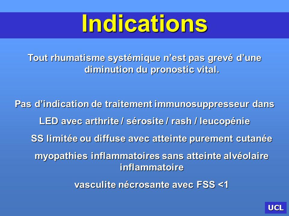 Indications Tout rhumatisme systémique n'est pas grevé d'une diminution du pronostic vital. Pas d'indication de traitement immunosuppresseur dans.