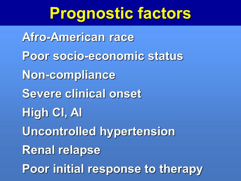 Prognostic factors Afro-American race Poor socio-economic status