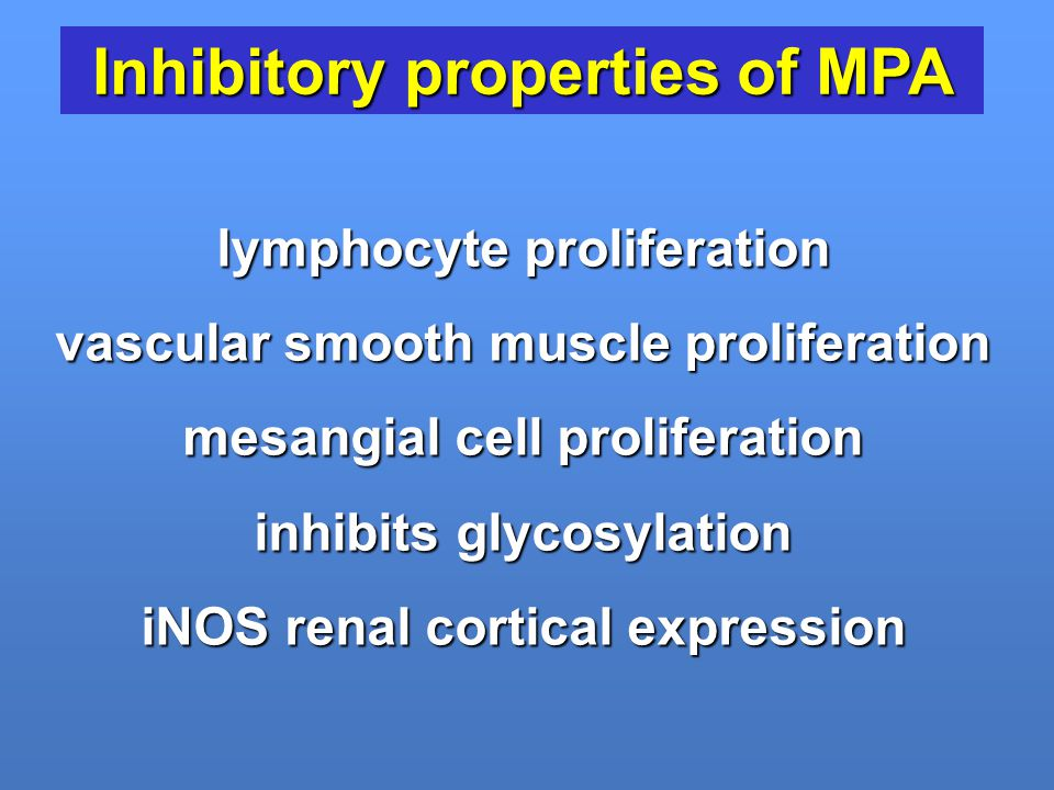Inhibitory properties of MPA